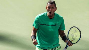 Nick Kyrgios saat mengalahkan Novak Djokovic di babak 4 Indian Wells 2017.