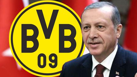 Presiden Turki, Recep Tayyip Erdogan, dan logo Borussia Dortmund. - INDOSPORT