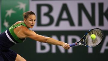 Karolina Pliskova saat mengalahkan Garbine Muguruza di perempatfinal Indian Wells.