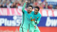 Indosport -    Selebrasi Neymar saat masih berseragam Barcelona dan Lionel Messi.
