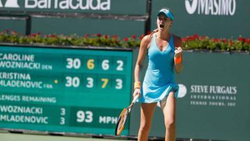 Kristina Mladenovic saat di perempatfinal Indian Wells 2017.