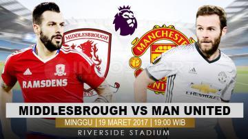 Prediksi Middlesbrough vs Manchester United.