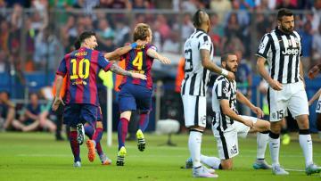 Ivan Rakitic kala merayakan gol ke gawang Juventus di final Liga Champions 2014/15.