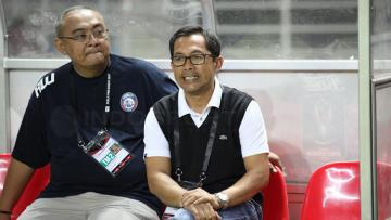 General Manager Arema FC, Ruddy Widodo (kiri) bersama pelatih Arema FC, Aji Santoso.