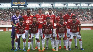 Penggawa Bali United saat melakoni laga uji coba melawan PSS Sleman.