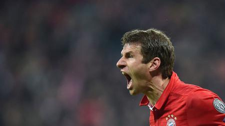 Thomas Muller menjadi satu-satunya pencetak gol dalam laga Borussia Moenchengladbach vs Bayern Munchen. - INDOSPORT