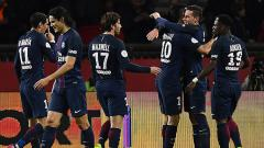 Indosport - Skuat PSG rayakan gol yang dicetak Julian Draxler.