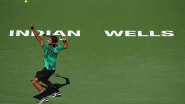 Roger Federer saat beraksi di Indian Wells Masters 2017.