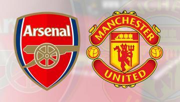 Logo Arsenal dan Manchester United.
