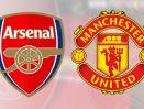 Logo Arsenal dan Manchester United.
