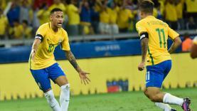 Neymar dan Coutinho saat membela Timnas Brasil.