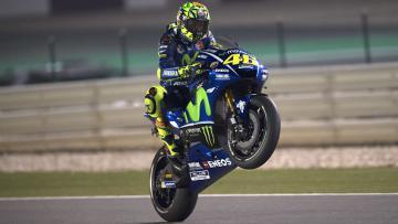 Valentino Rossi saat menjalani sesi latihan bebas 1 di Sirkuit Losail, Doha, Qatar.
