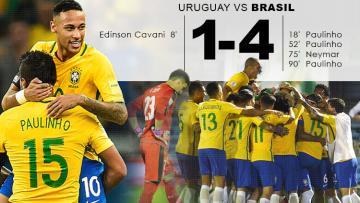 Brasil menang 4-1 atas Uruguay di kualifikasi Piala Dunia 2018.