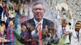 Sir Alex Ferguson di tengah-tengah dua klub raja Spanyol.