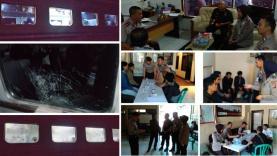 Sembilan orang telah diamankan polisi terkait pelemparan batu terhadap Kereta Serayu yang di tumpangi The Jak Mania di Stasiun Kiaracondong.
