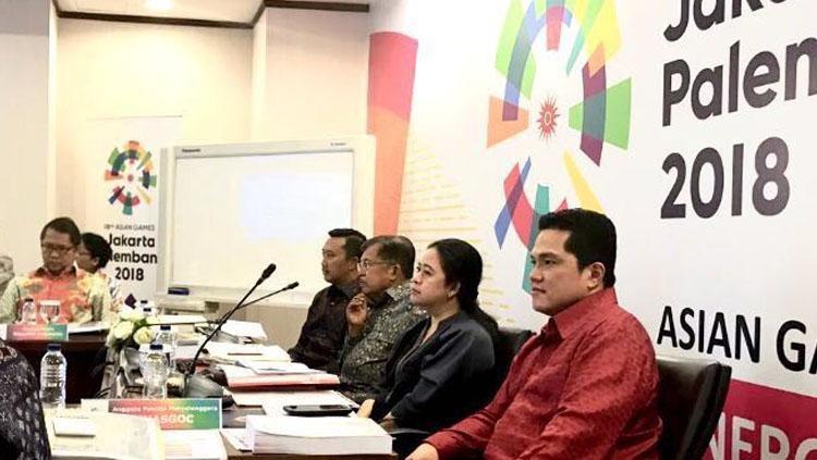 Wapres, Jusuf Kalla, pimpin rapat persiapan Asian Games Inasgoc. Copyright: Humas INASGOC