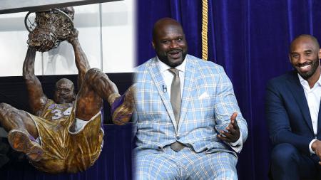Mantan penggawa Los Angeles Lakers, Kobe Bryant hadir dalam peresmian patung Shaquille Oneal di Staples Center. - INDOSPORT