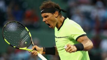 Rafael Nadal merayakan pertandingan keseribunya di Miami Terbuka 2017.