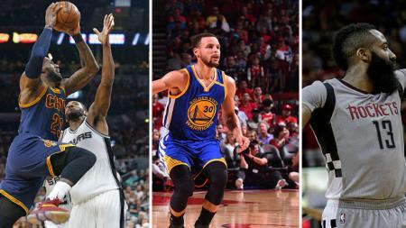 Calon peraih MVP NBA musim ini: Lebron James, Stephen Curry, dan James Harden. - INDOSPORT