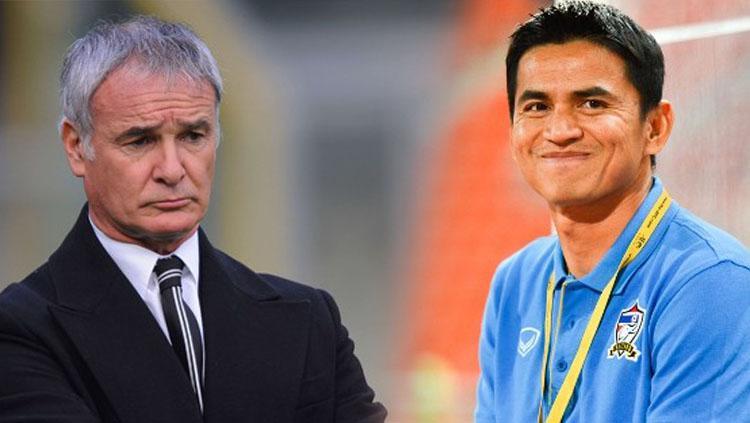 Claudio Ranieri dan Kiatisuk Senamuang Copyright: bongdanet.vn