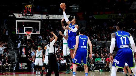 Situasi pertandingan Atlanta Hawks melawan Boston Celtics. - INDOSPORT