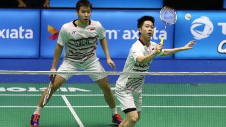 Pasangan ganda putra Indonesia, Marcus Fernaldi Gideon/Kevin Sanjaya Sukamuljo di ajang Malaysia Super Series Premier 2017. - INDOSPORT