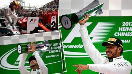 Pembalap Mercedes, Lewis Hamilton, keluar sebagai pemenang GP China. - INDOSPORT