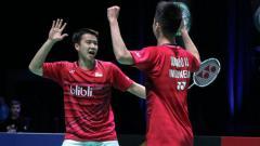 Indosport - Selebrasi Kevin Sanjaya Sukamuljo/Marcus Fernaldi Gideon.
