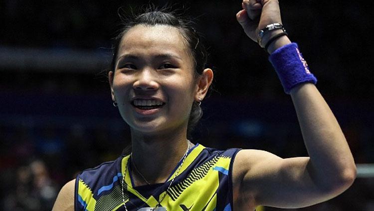 Tai Tzu Ying selebrasi usai kalahkan Carolina Marin. Copyright: MOHD RASFAN/AFP/Getty Images