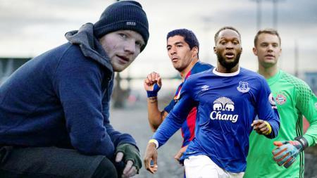 Ed Sheeran, Luis Suarez, Romelu Lukaku, dan Manuel Neuer. - INDOSPORT