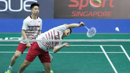 Kevin Sanjaya Sukamuljo/Marcus Fernaldi Gideon beraksi di Singapore Open 2017. - INDOSPORT