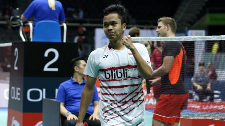 Anthony Ginting di babak dua Singapore Open 2017. - INDOSPORT
