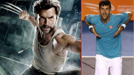 Novak Djokovic, petenis asal Serbia (kiri) dengan Wolverine (tokoh film X Men). - INDOSPORT