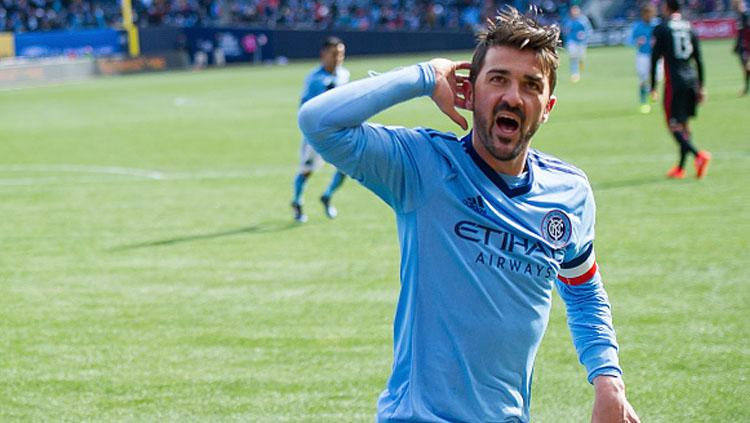 Selebrasi David Villa pada laga saat melawan DC United. Copyright: Michael Stewart/Getty Images
