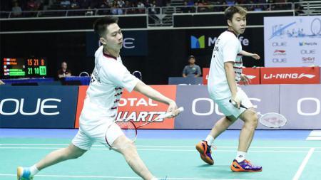 Turnamen Singapore Open tampaknya belum menjadi 'rumah' yang baik untuk pasangan Kevin Sanjaya Sukamuljo/Marcus Fernaldi Gideon. - INDOSPORT