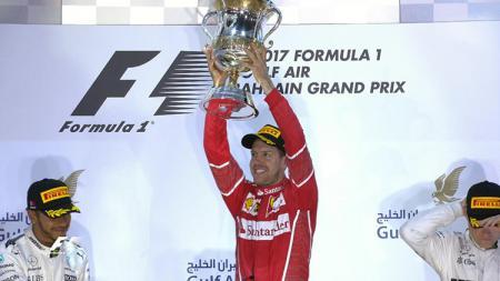 Sebastian Vettel menjuarai balapan GP Bahrain 2017. - INDOSPORT