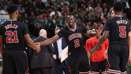 Pemain Bulls, Bobby Portis #5, Jerian Grant #2, dan Jimmy Butler #21. - INDOSPORT