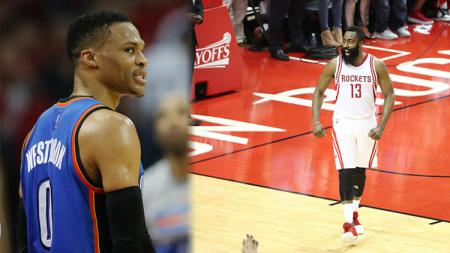 Russelll Westbrook (kiri) dan James Harden, akan jadi apa kerja sama tim mereka di Houston Rockets? Tim Warner/Nathaniel S. Butler/Getty Images. - INDOSPORT