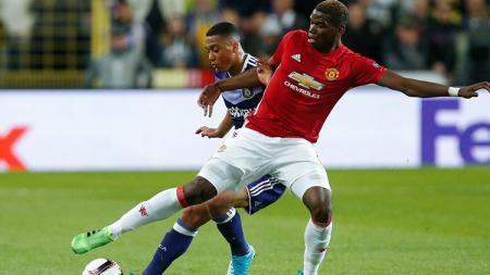 Situasi pertandingan babak pertama antara Manchester United melawan Anderlecht. - INDOSPORT