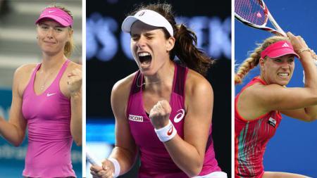Maria Sharapova, Johanna Konta, Angelique Kerber. - INDOSPORT
