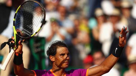 Rafael Nadal merayakan keberhasilannya meraih kemenangan, - INDOSPORT