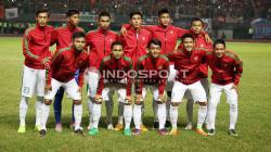 Timnas Indonesia U-22 saat menghadapi Persija Jakarta dalam laga uji coba di Stadion Patriot, Kota Bekasi.