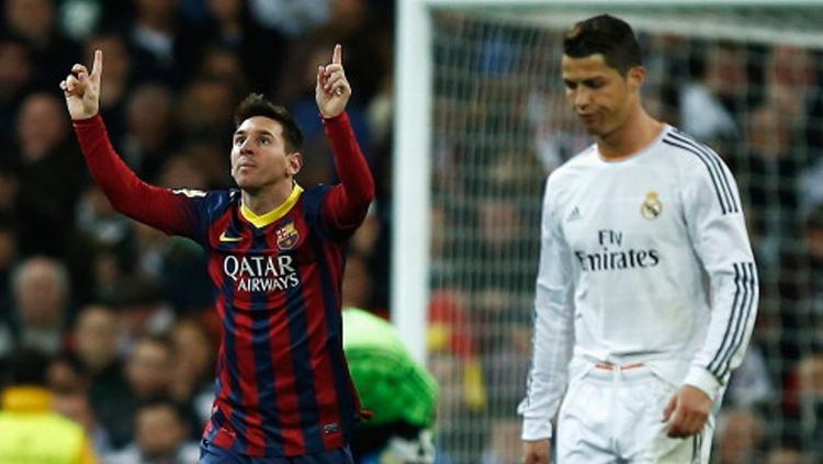 El Clasico jilid 266 menjadi milik Messi dan Ronaldo. Copyright: Gonzalo Arroyo Moreno/Getty Images