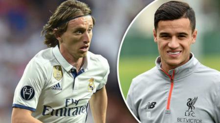 Luka Modric (kiri) dikabarkan akan pergi ke Munchen dan digantikan oleh Coutinho. - INDOSPORT