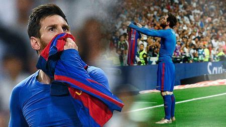 Aksi Lionel Messi melakukan selebrasi di hadapan fans Real Madrid beberapa musim lalu. - INDOSPORT