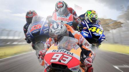 Maverick Vinales, Jorge Lorenzo, Valentino Rossi dan Marc Marquez. - INDOSPORT