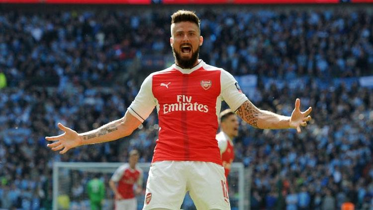 Selebrasi Olivier Giroud. Copyright: Stuart MacFarlane/Arsenal FC via Getty Images