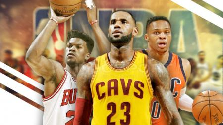 Russell Westbrook, LeBron James, dan Jimmy Butler. - INDOSPORT