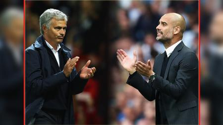 Pelatih Man United, Jose Mourinho (kiri) dan pelatih Man City, Pep Guardiola. - INDOSPORT