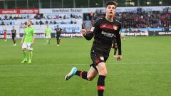 Indosport - Selebrasi Kai Havertz usai lesakkan gol ke gawang Wolfsburg.